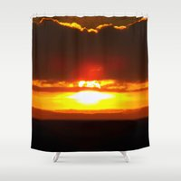 sunset Shower Curtains featuring Sunset by Aaron Carberry
