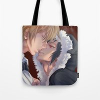 yaoi Tote Bags featuring DRRR!! by washuuchan