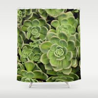 succulent Shower Curtains featuring Succulent by Cynthia del Rio