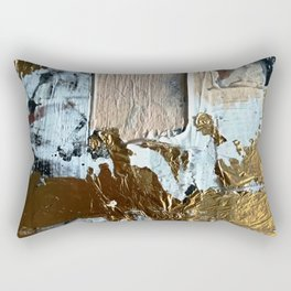 Compelling: a minimal, abstract mixed-media piece in gold, pink, black and white by Alyssa Hamilton Rectangular Pillow