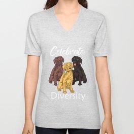 Cute Lab Gift Print Labrador Retriever Dog Lover Tee Unisex V-Neck