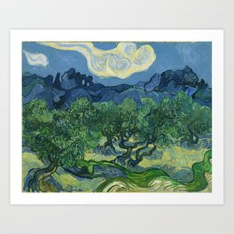 Olive Trees with the Alpilles in the Background by Vincent van Gogh (June 1889) Art Print