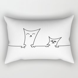 4 Cats on a Line #001, Cat 3 & 4, by clodyCats Rectangular Pillow