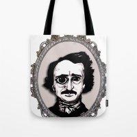 edgar allan poe Tote Bags featuring Edgar Allan Poe by Michael J.