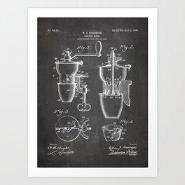 Coffee Mill Patent - Coffee Shop Art - Black Chalkboard Art Print
