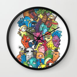 Stacks of Monsters Wall Clock