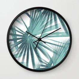 Teal Aqua Tropical Beach Palm Fan Vector Wall Clock