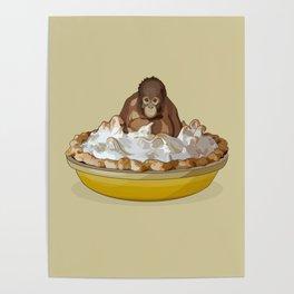 Lemon 'Merangutan' Pie - Orangutan Monkey in Lemon Meringue Pie Poster