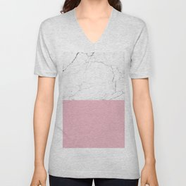 blush pink and white marble color block Unisex V-Neck