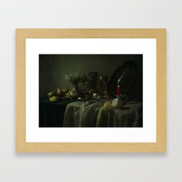 Still life with metal dishes, fruits and fresh flowers Framed Art Print