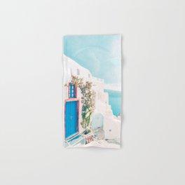 Santorini Greece Cozy blush travel photography in hd. Hand & Bath Towel