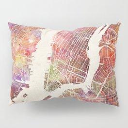 New York Map Watercolor Pillow Sham