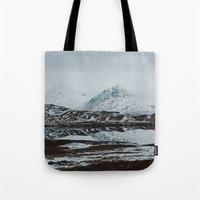 scotland Tote Bags featuring Glencoe, Scotland by Diana Eastman
