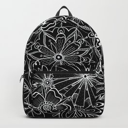 Floral Pattern Black and White Backpack