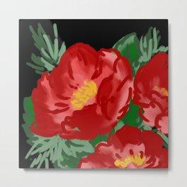 Painted red flowers -  Wild rose Metal Print