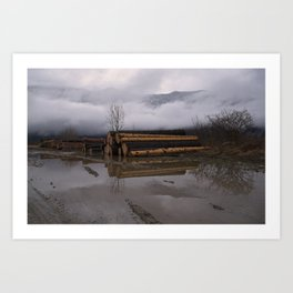 Timber Logs With A Foggy Mountain View Art Print