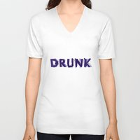 hemingway V-neck T-shirts featuring Write Drunk Edit Sober by marianadegogo