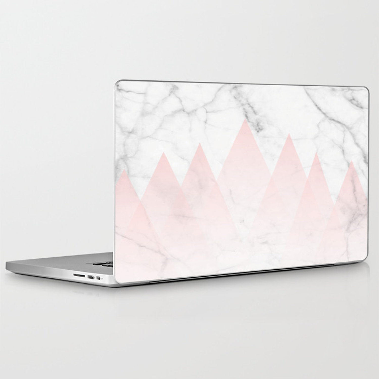 White Marble Background Pink Abstract Triangle Mountains Laptop Ipad Skin By 5mmpaper Society6