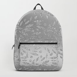 Glamorous chic silver glitter gradient floral foliage Backpack