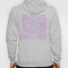 Abstract Mint Pink Flower Pattern Hoody