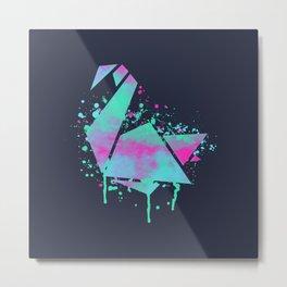 Neon Swan - abstract colorful swan, origami, birds, bright, animal t shirt, animal print t shirt Metal Print
