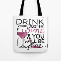 wine Tote Bags featuring wine by desfigure