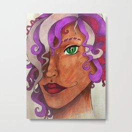 Purple Curls Metal Print