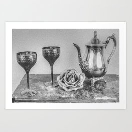 Goblet and flowers Art Print
