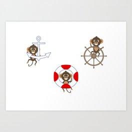 Nautical Monkeys being Naughty Too Art Print