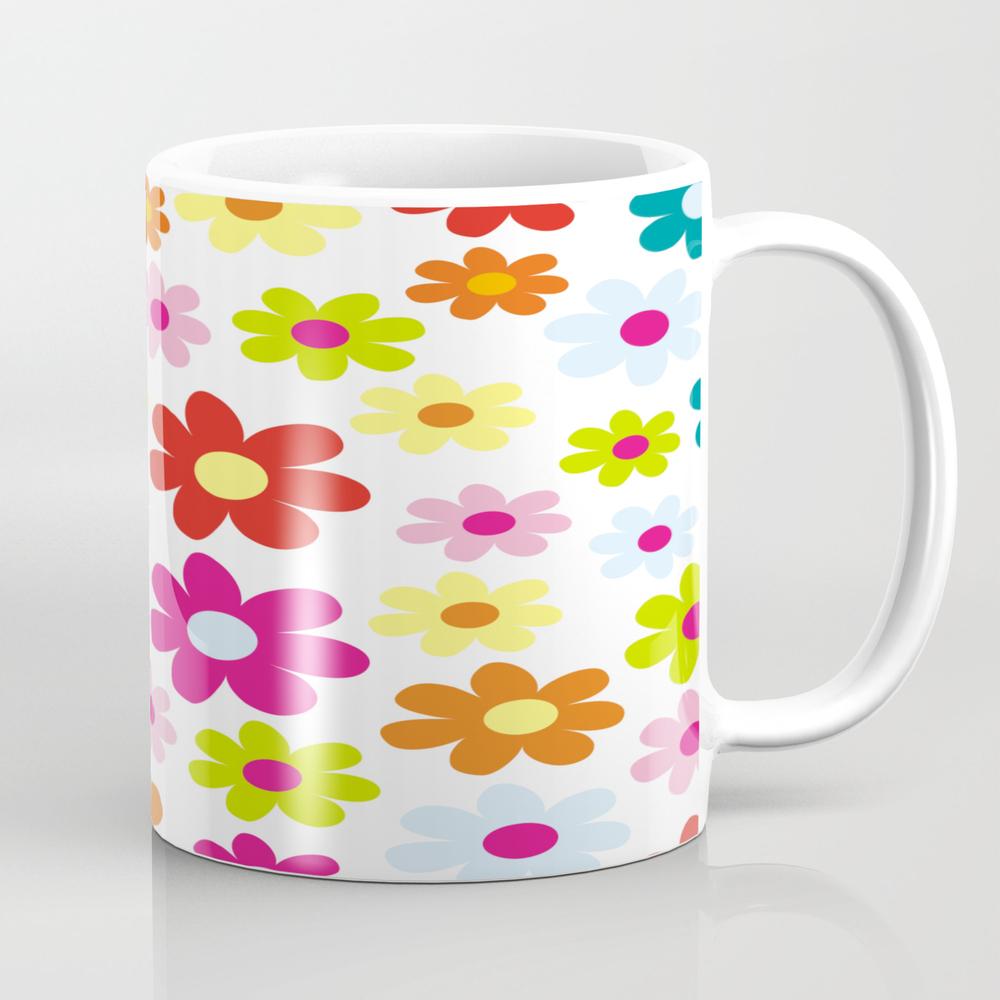 Colorful Flowers On White Mug by Artiseverything MUG7829746