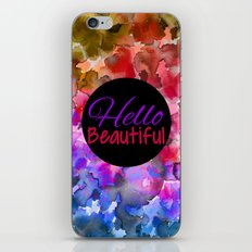 HELLO BEAUTIFUL Colorful Art Typography Inspirational Abstract Watercolor Painting Ombre Rainbow iPhone & iPod Skin