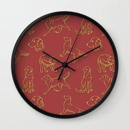 Golden Retriever Pattern (Terracotta Red Background) Wall Clock