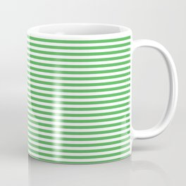 Even Horizontal Stripes, Green and White, XS Coffee Mug