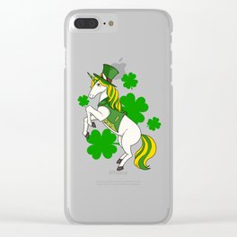 Lepricorn Cute Unicorn Leprechaun St Patricks Clover product Clear iPhone Case