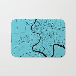 Bangkok Thailand Minimal Street Map - Turquoise and Black Bath Mat