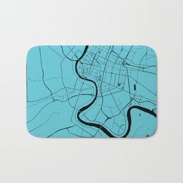Bangkok Thailand Minimal Street Map - Turquoise and Black Bath Mat