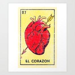 El Corazon Mexican Loteria Bingo Card Art Print