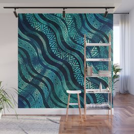 Wavy Tribal  Ethnic Boho Pattern Wall Mural