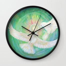 Doves, healing, green energy Wall Clock