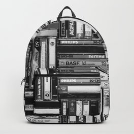 Music Cassette Stacks - Black and White - Something Nostalgic IV #decor #society6 #buyart Backpack
