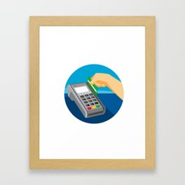 Hand Swiping Credit Card on POS Terminal Retro Framed Art Print