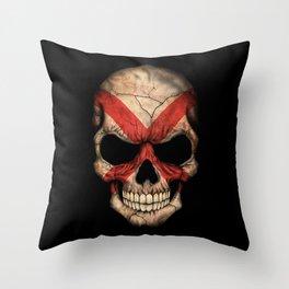 Dark Skull with Flag of Alabama Throw Pillow