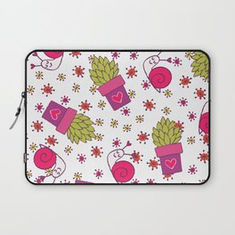 Abstract neon pink green funny snail cactus floral Laptop Sleeve