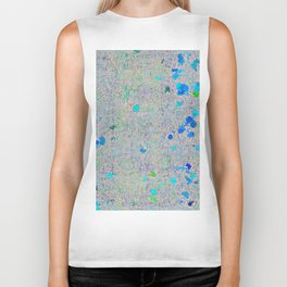 psychedelic abstract art texture background in blue green yellow Biker Tank
