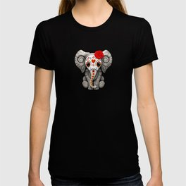 Deep Red Day of the Dead Sugar Skull Baby Elephant T-shirt