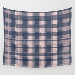 Dusty rose and Blue Modern Tartan Wall Tapestry