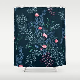 Floral - Blue & Pink Shower Curtain