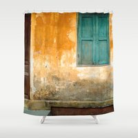 vietnam Shower Curtains featuring Antique Chinese Wall - VIETNAM by CAPTAINSILVA