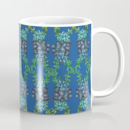 Blue Succulent Double Link Pattern Coffee Mug