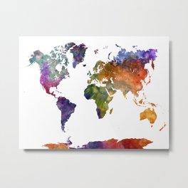 World map in watercolor 26 Metal Print